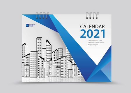 Cover desk calendar 2021 year template vector illustration, corporate design, Business flyer, brochure cover, blue abstract background, Annual report , creative idea