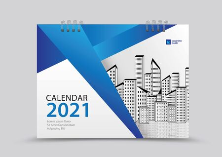 Cover desk calendar 2021 year template vector illustration, corporate design, Business flyer, brochure cover, blue abstract background, Annual report , creative idea Stok Fotoğraf - 143103104