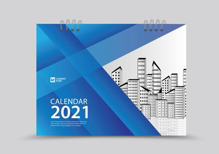 Cover desk calendar 2021 year template vector illustration, corporate design, Business flyer, brochure cover, blue abstract background, Annual report , creative idea Stok Fotoğraf - 143103106