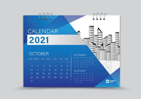 Desk Calendar 2021 Creative design can be place photo and logo, Week starts on Sunday, October, Page vector for calendar 2021 template, Blue gradient background Çizim