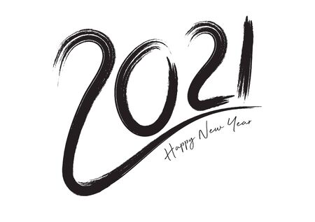 2021 text design Black color, Collection of Happy New Year and happy holidays, lettering design element, handwritten isolated on white background. Calendar 2021, Paintbrush stroke. Stok Fotoğraf - 146587002
