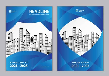 Brochure Cover design, Annual report Cover design Template, business brochure flyer creative idea, book cover, Can be use Place Photo and Company Logo. Size A4.  Modern blue abstract background.