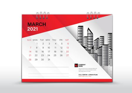 Calendar 2021 Vector, March 2021 Year Template, Desk Calendar Design, Week Start On Sunday, Stationery, Printing, corporate planner, Red abstract background creative idea Çizim