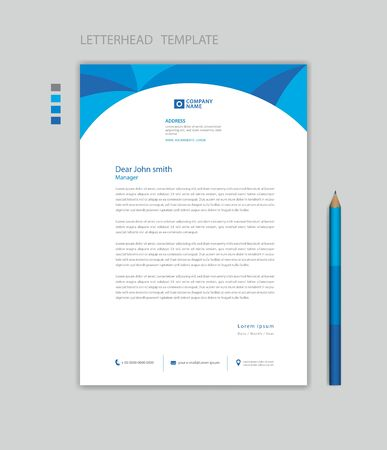 Creative Letterhead template vector, minimalist style, printing design, business advertisement layout, Blue concept background
