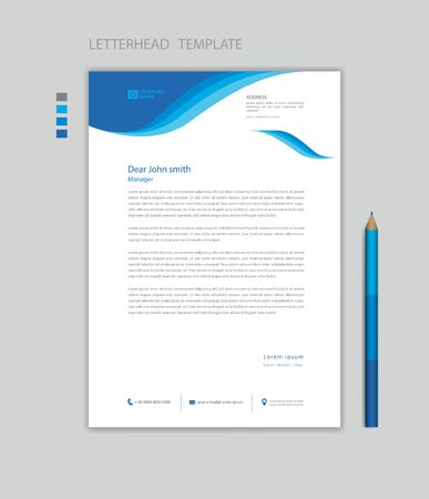Creative Letterhead template vector, minimalist style, printing design, business advertisement layout, Blue wave graphic background concept Stok Fotoğraf - 147406800
