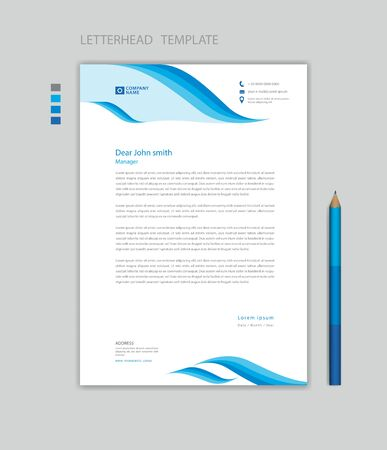 Creative Letterhead template vector, minimalist style, printing design, business advertisement layout, Blue wave graphic background concept Stok Fotoğraf - 147406807