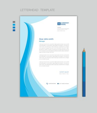 Creative Letterhead template vector, minimalist style, printing design, business advertisement layout, Blue wave graphic background concept Stok Fotoğraf - 147406916