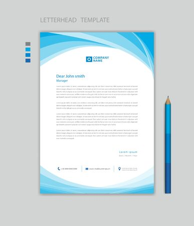 Creative Letterhead template vector, minimalist style, printing design, business advertisement layout, Blue wave graphic background concept Çizim