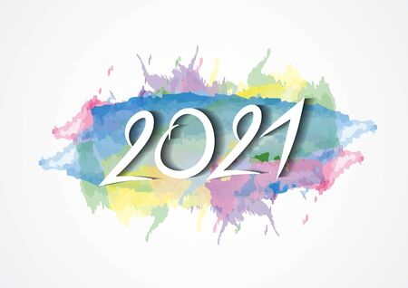 2021 text design and colorful brushstroke with Frame, Collection of Happy New Year and happy holidays, Calendar 2021 cover template, vector illustration