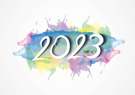 2023 text design and colorful brushstroke with Frame, Collection of Happy New Year and happy holidays, Calendar 2023 cover template, vector illustration Çizim