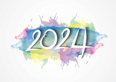 2024 text design and colorful brushstroke with Frame, Collection of Happy New Year and happy holidays, Calendar 2024 cover template, vector illustration