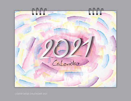 Cover Desk Calendar 2021 year template, book cover design, brochure, flyer, advertisement. 2021 text design on colorful watercolor background, corporate design, vector illustration Çizim
