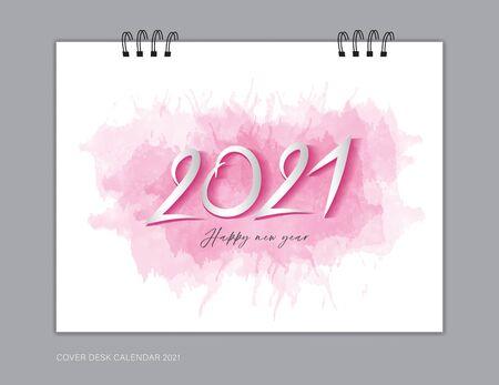 Cover Desk Calendar 2021 year template, book cover design, brochure, flyer, advertisement. 2021 text design on pink watercolor background, corporate design, vector illustration