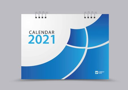Cover desk calendar 2021 year template vector illustration, corporate design, Business flyer, brochure cover, blue abstract background, Annual report, creative idea Çizim