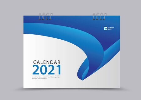 Cover desk calendar 2021 year template vector illustration, corporate design, Business flyer, brochure cover, blue abstract background, Annual report, creative idea Stok Fotoğraf - 149979507