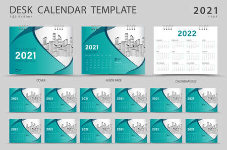 Set Desk calendar 2021 template creative design. Calendar 2022 layout, Set of 12 Months, Planner, Week starts on Sunday, Stationery design, advertisement, Modern Red cover design, business brochure flyer, Vector eps10 Çizim