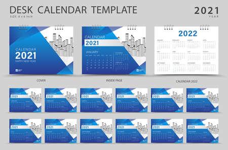 Set Desk calendar 2021 template. Calendar 2022 layout, Set of 12 Months, Planner, Week starts on Sunday, Stationery design, advertisement, Modern Red cover design, business brochure flyer, Vector eps10 Çizim