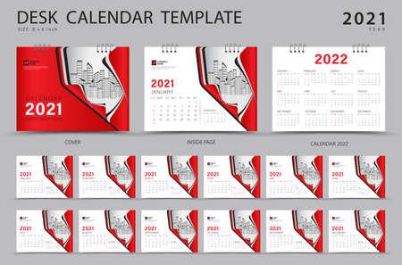 Set Desk calendar 2021 template creative design. Calendar 2022 layout, Set of 12 Months, Planner, Week starts on Sunday, Stationery design, advertisement, Modern red cover design Stok Fotoğraf - 152275975