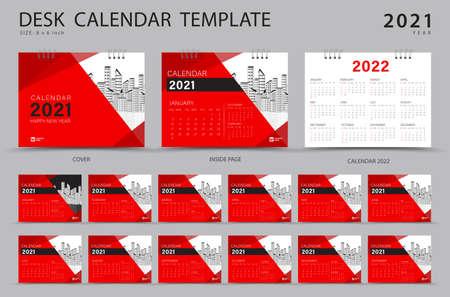 Set Desk calendar 2021 template creative design. Calendar 2022 layout, Set of 12 Months, Planner, Week starts on Sunday, Stationery design, advertisement, Modern red cover design