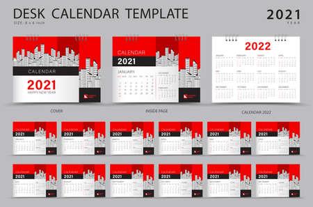 Set Desk calendar 2021 template creative design. Calendar 2022 layout, Set of 12 Months, Planner, Week starts on Sunday, Stationery design, advertisement, Modern red cover design Stok Fotoğraf - 152275995