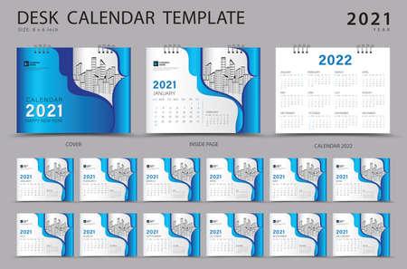 Desk calendar 2021 set template with Calendar 2022 design, Orange cover design, Corporate design planner, Week Starts on Sunday. Set of 12 Months.