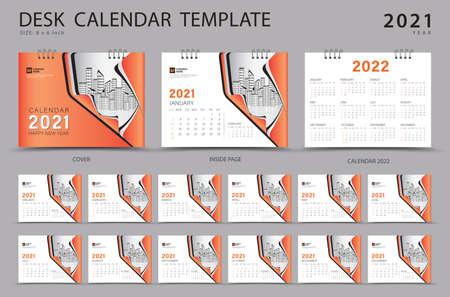 Desk calendar 2021 set template with Calendar 2022 design, Orange cover design, Corporate design planner, Week Starts on Sunday. Set of 12 Months. Stok Fotoğraf - 152464726