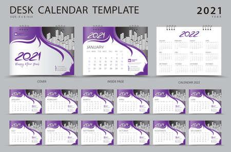Desk calendar 2021 set template with Calendar 2022 design, Pink cover design, Corporate design planner, Week Starts on Sunday. Set of 12 Months. Stok Fotoğraf - 152464727