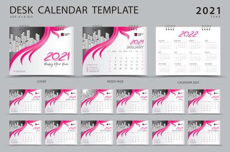 Desk calendar 2021 set template with Calendar 2022 design, Pink cover design, Corporate design planner, Week Starts on Sunday. Set of 12 Months. Çizim