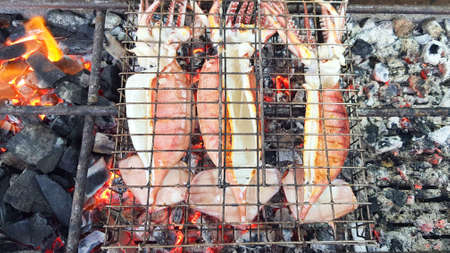 Squid grilled on charcoal stove