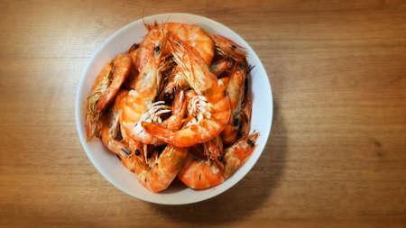 Popular seafood grilled shrimp, street food