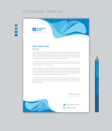 Creative Letterhead template vector, minimalist style, printing design, business advertisement layout, Blue graphic background concept