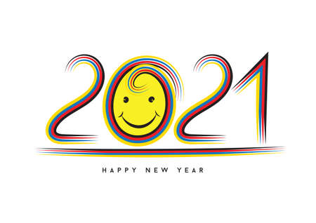 2021 text design and colorful brushstroke, Collection of Happy New Year and happy holidays, Calendar 2021 cover template, vector illustration