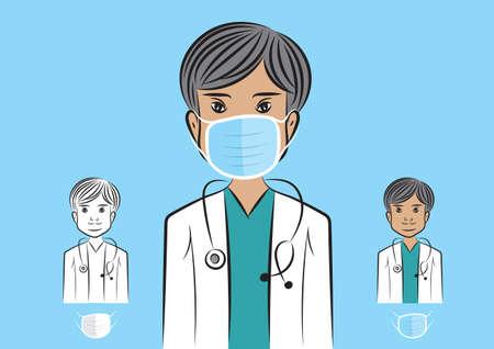 Male doctor wearing a medical mask  vetor illustration. protection Coronavirus covid-19 Çizim