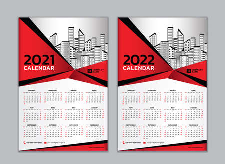 Calendar 2021-2022 template vector. wall calendar design, 12 months include. Çizim