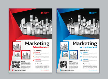 Corporate flyer layout template vector illustration, Marketing, advertisement, cover, brochure flyer design, poster, banner, Red and blue abstract backgrounds