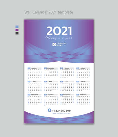 Wall calendar 2021 design template vector illustration with Place for Photo and Company Logo. Week Starts on Monday. Set of 12 Months, desk calendar design, printing, poster, advertisement.