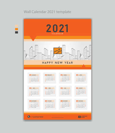 Wall calendar 2021 design template vector illustration with Place Company Logo. Week Starts on Monday. Set of 12 Months, desk calendar design, printing, poster, advertisement. 矢量图像