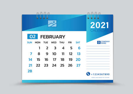 February month template, Desk Calendar 2021 Creative design can be place photo and logo, Week starts on Sunday, vector for calendar 2021 template, Blue gradient background