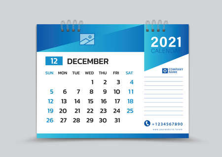 December month template, Desk Calendar 2021 Creative design can be place photo and logo, Week starts on Sunday, vector for calendar 2021 template, Blue gradient background Çizim