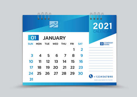 January month template, Desk Calendar 2021 Creative design can be place photo and logo, Week starts on Sunday, vector for calendar 2021 template, Blue gradient background