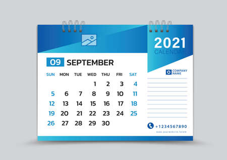 September month template, Desk Calendar 2021 Creative design can be place photo and logo, Week starts on Sunday, vector for calendar 2021 template, Blue gradient background