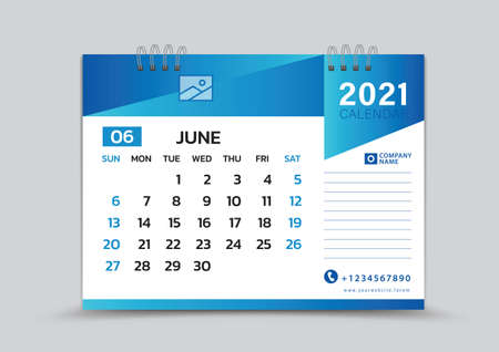 June month template, Desk Calendar 2021 Creative design can be place photo and logo, Week starts on Sunday, vector for calendar 2021 template, Blue gradient background