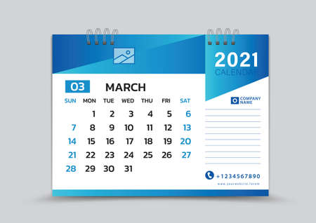 March month template, Desk Calendar 2021 Creative design can be place photo and logo, Week starts on Sunday, vector for calendar 2021 template, Blue gradient background