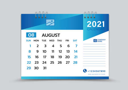 August month template, Desk Calendar 2021 Creative design can be place photo and logo, Week starts on Sunday, vector for calendar 2021 template, Blue gradient background