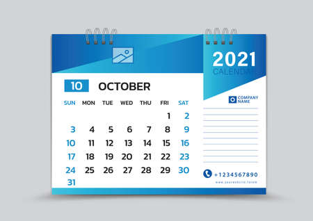 October month template, Desk Calendar 2021 Creative design can be place photo and logo, Week starts on Sunday, vector for calendar 2021 template, Blue gradient background