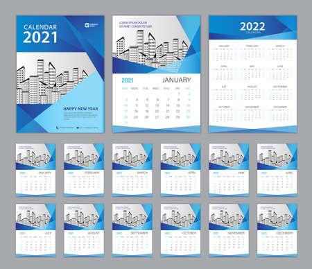 Set Desk Calendar 2021 template, Calendar 2022, Cover design. Week Starts on Sunday, Set of 12 Months, planner template. Blue abstract background