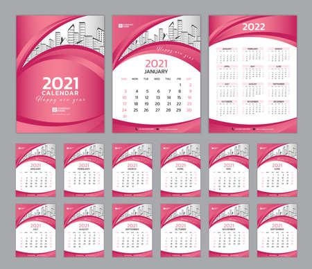 Set Desk Calendar 2021 template, Calendar 2022, Cover design. Week Starts on Sunday, Set of 12 Months, planner template. Peach color background