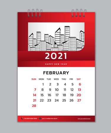 February month template, Desk Calendar 2021 Creative design can be place photo and logo, Week starts on Sunday, vector for calendar 2021 template, Red gradient background Çizim