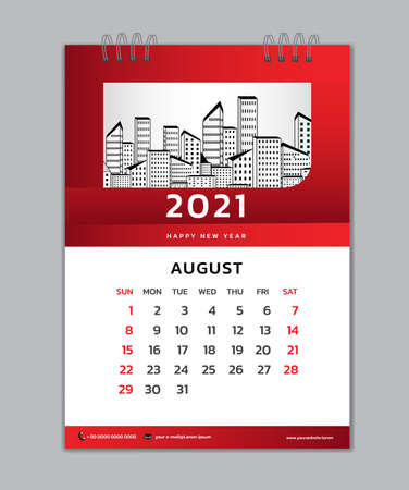 August month template, Desk Calendar 2021 Creative design can be place photo and logo, Week starts on Sunday, vector for calendar 2021 template, Red gradient background Çizim