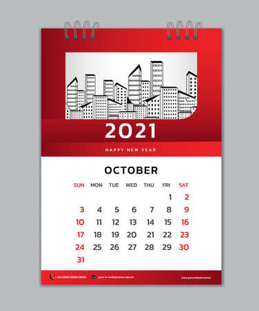 October month template, Desk Calendar 2021 Creative design can be place photo and logo, Week starts on Sunday, vector for calendar 2021 template, Red gradient background